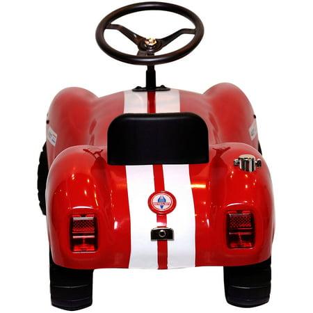 Ride On Shelby Cobra Licensed Vintage Stamped Steel Foot To Floor Car In Red