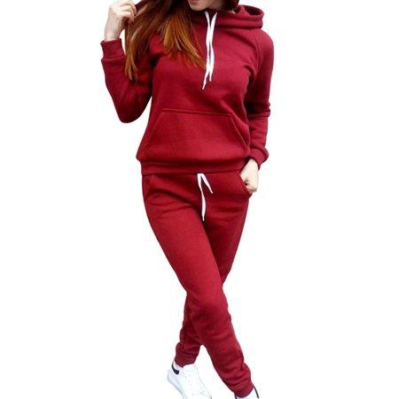 2Pcs Women Girls Hoodies Sweatshirt + Pants Sets Casual Tracksuit Jogging Gym Sport Wear Suit Grey Cotton Tracksuit