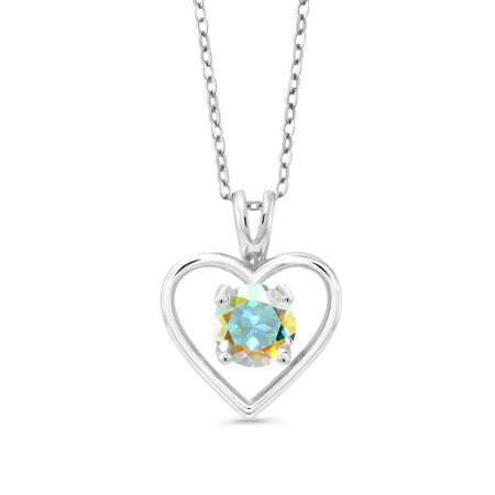 1.00 Ct Round Mercury Mist Mystic Topaz 925 Sterling Silver Pendant With Chain