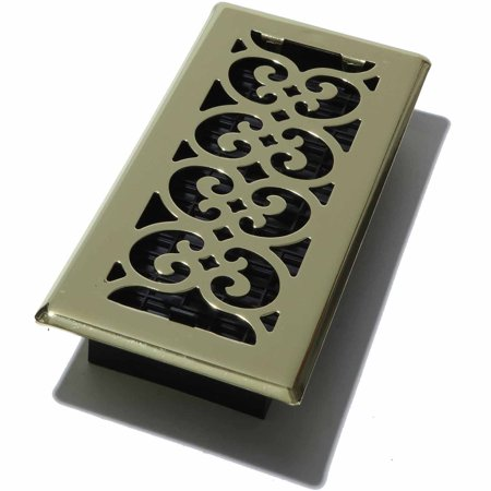 Decor Grates Scroll Floor Register, Plated Brass, 4