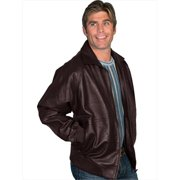 Scully 243-29-4X Mens Zip Front Leather Jacket, Brown Lamb, Size 29-4X