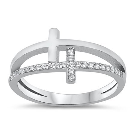 White CZ Double Cross Christian Love Ring .925 Sterling Silver Band Size 8 Christian Cross Wedding Band