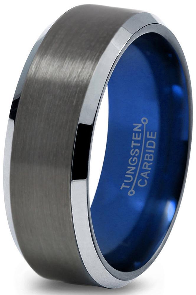 Tungsten Wedding Band Ring 8mm For Men Women Blue Black Gunmetal Beveled Edge Brushed Polished Lifetime Guarantee