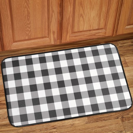 Astonishing Buffalo Check Printed Anti Fatigue Kitchen Floor Rug Mat 18 X 30 Black And White Interior Design Ideas Pimpapslepicentreinfo