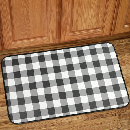 Buffalo Check Printed Anti Fatigue Kitchen Floor Rug Mat 18 X 30 Black And White