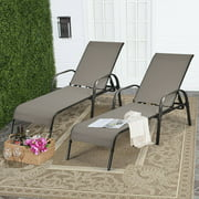 Gymax 2PCS Adjustable Chaise Lounge Chair Recliner Patio Yard Outdoor w/ Armrest Brown