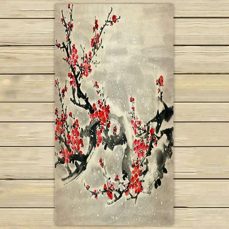 Beach Plum (PHFZK Asian Towel, Plum Blossom Traditional Chinese Painting Hand Towel Bath Bathroom Shower Towels Beach Towel 30x56 inches )