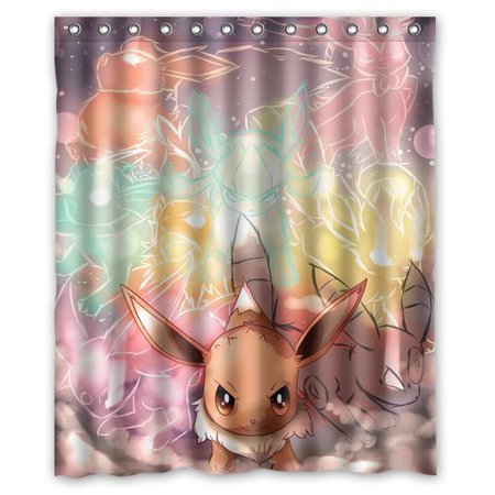 Pokemon Pocket Monster Lovely Eevee Shower Curtain Polyester Fabric Bathroom Shower Curtain 60x72 Inches By Ganma by Ganma