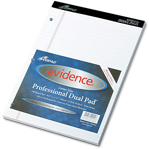 Ampad Evidence Dual Ruled Pad, 8-1/2 x 11-3/4, White, 100-Sheets, 1 Pack