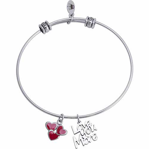 "Connections from Hallmark Stainless Steel ""Love You More"" and Hearts Multi-Charm Bangle"