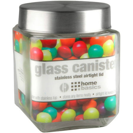 Home Basics Glass Square Canister with Steel Lid
