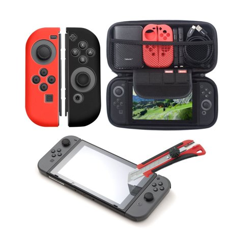 Insten 4in1 Starter Bundle Kit for Nintendo Switch - Carrying Travel Hard Shell Case Built-in Game Cartridge Slot + Tempered Glass Screen Protector + Silicone Joy Con Skin [Left RED/Right BLACK]