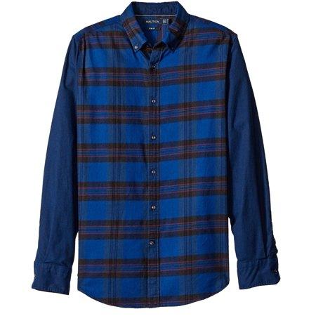 nautica new blue mens large l slim fit helmsman button down plaid shirt