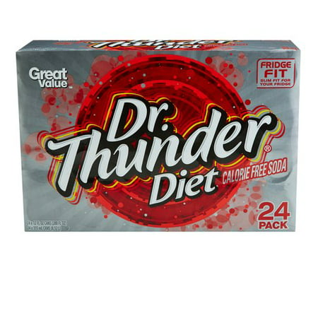 Great Value Dr. Thunder Calorie-Free Diet Soda, 12 Fl. Oz., 24 Count (Soda Package)