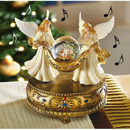 Christmas Decor Musical Angels Snow Globe ()