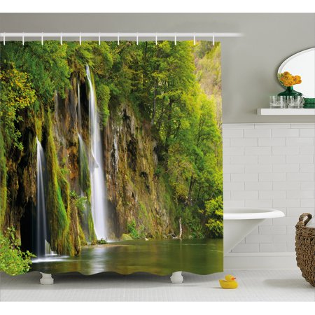 Nature Shower Curtain Majestic Waterfall Flowing Down To River In National Park Fresh Landscape