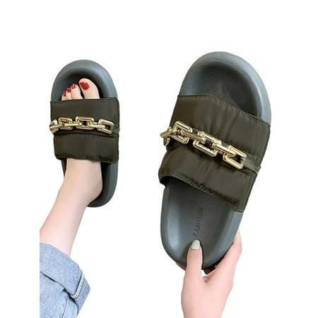 Audeban Women's Comfy Peep Toe Flat Sandal Shoes Ladies Slip On Mules Chain Decor Shoes