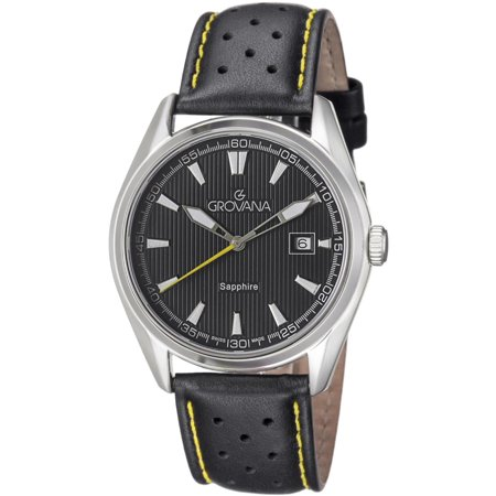 Grovana grovana 42mm stainless steel case black calfskin anti reflective sapphire for Anti reflective watches