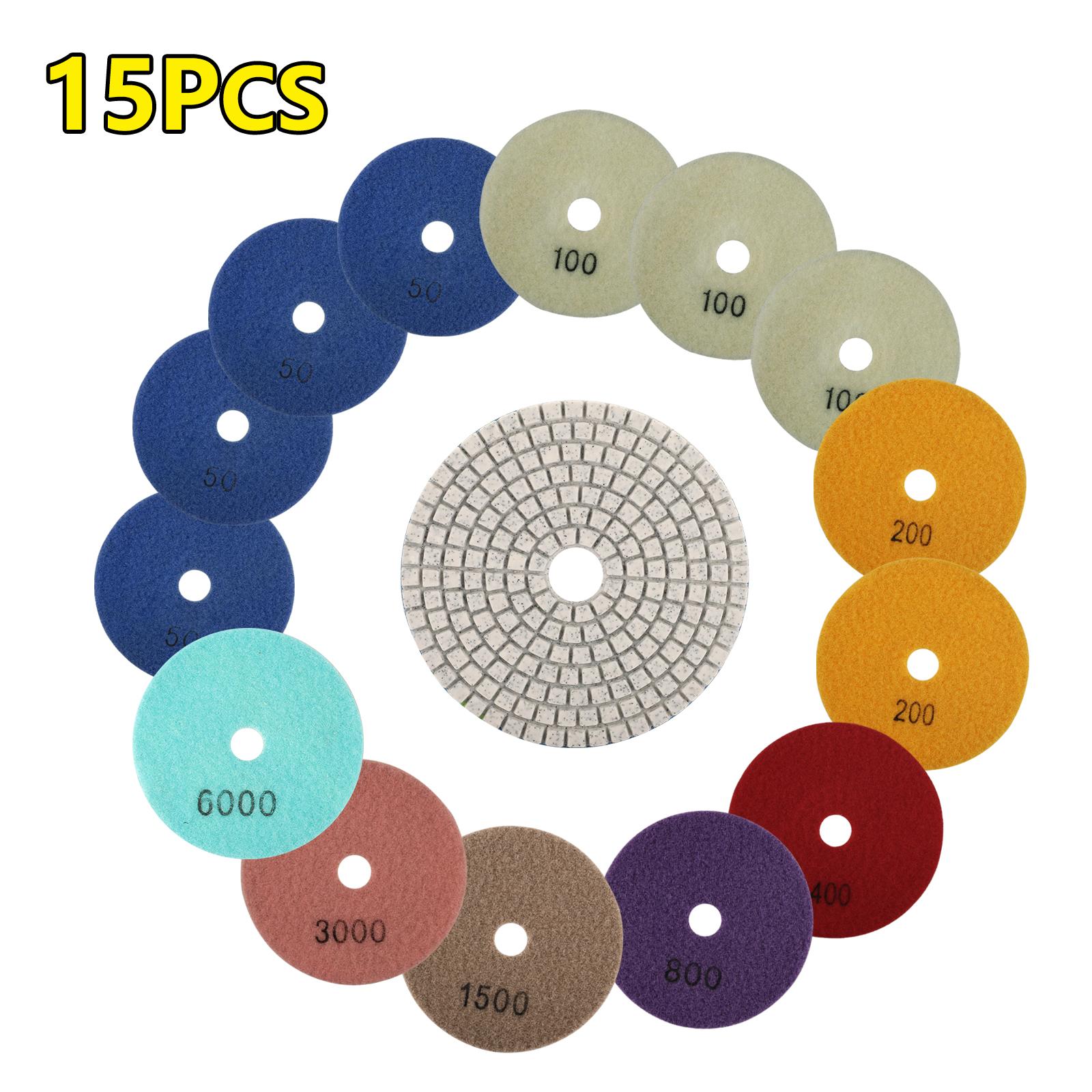 """4/"""" DIAMOND POLISHING PAD DRY 18 Piece Grit 50 100 200 Concrete Granite Ceramic"""
