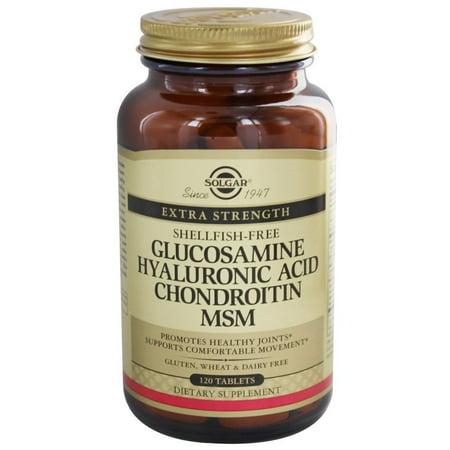 Solgar Glucosamine Hyaluronic Acid Chondroitin MSM shellfish free , 120 Tablets-2 Pack