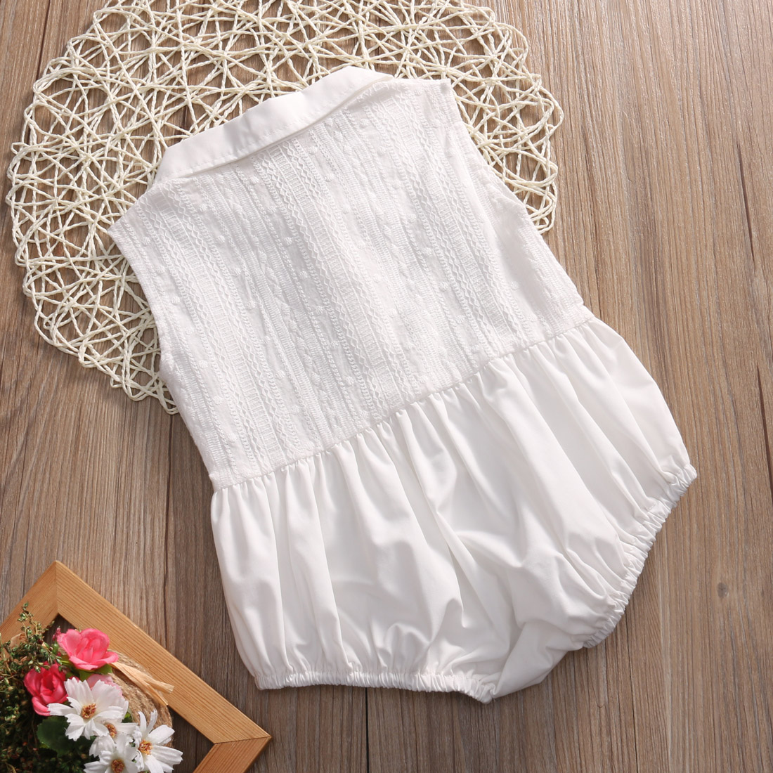 8bc49d35bb88 White Bodysuit Cute Baby Girl Sleeveless Bodysuit Romper Jumpsuit One-Pieces  Outfits