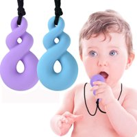 2Pcs Teething Toys - Autism ADHD Sensory Chew Necklace for Kids - Chewy Sticks for Boys and Girls, Purple and Blue