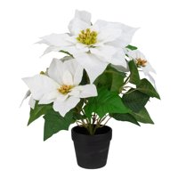 "14.5"" Creamy White Artificial Christmas Poinsettia Flower Plant in a Dark Brown Pot"
