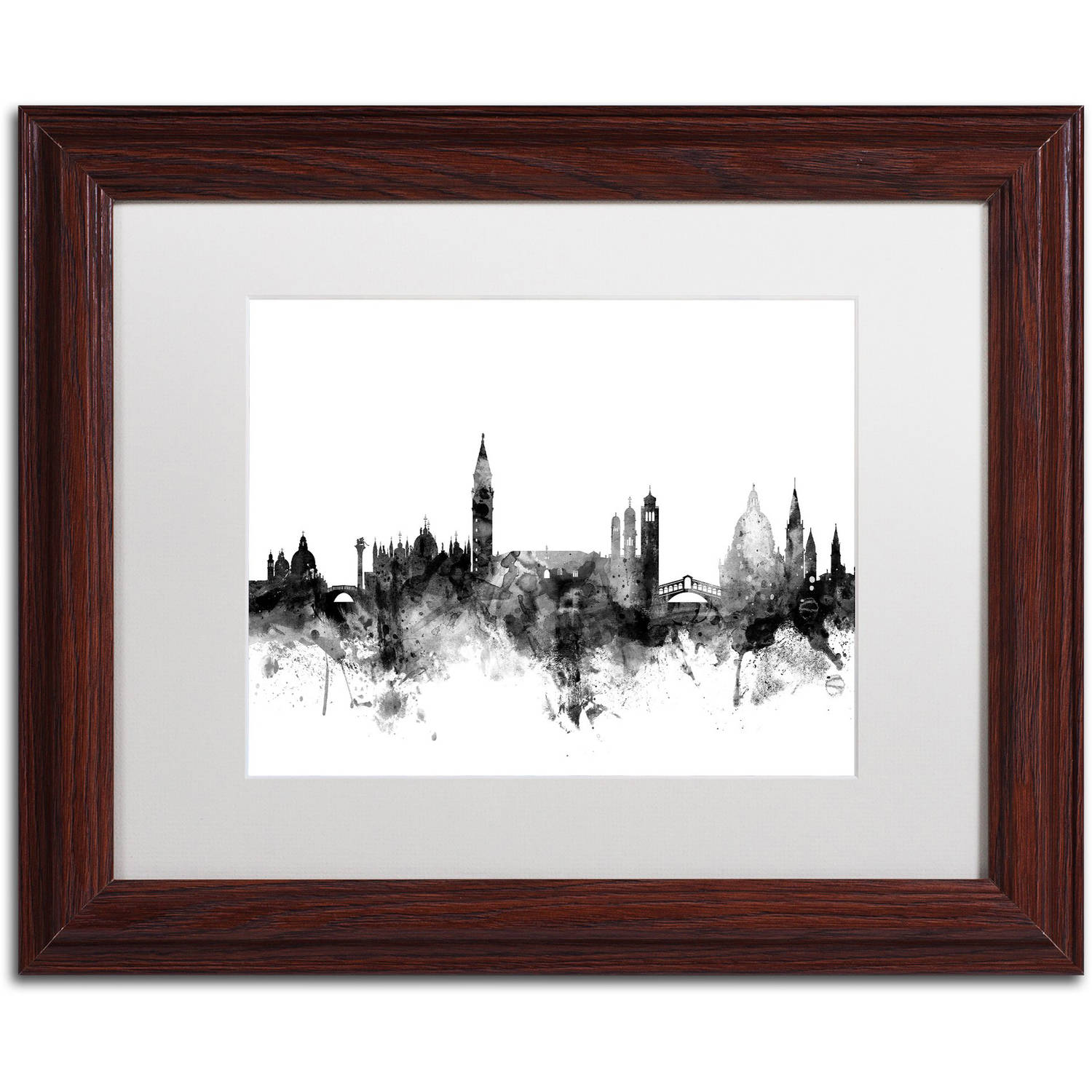 "Trademark Fine Art ""Venice Italy Skyline B&W"" Canvas Art by Michael Tompsett, White Matte, Wood Frame"