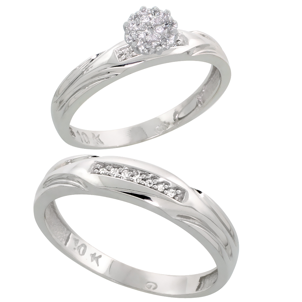 10k White Gold Diamond Engagement Rings Set for Men and Women 2-Piece 0.10 cttw Brilliant Cut, 3.5mm & 4.5mm wide by WorldJewels