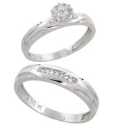 10k White Gold Diamond Engagement Rings Set for Men and Women 2-Piece 0.10 cttw Brilliant Cut, 3.5mm