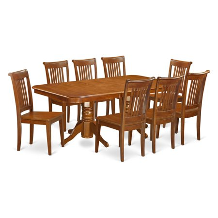 East West Furniture Kenley 9 Piece Dining Table Set with Portland Chairs ()