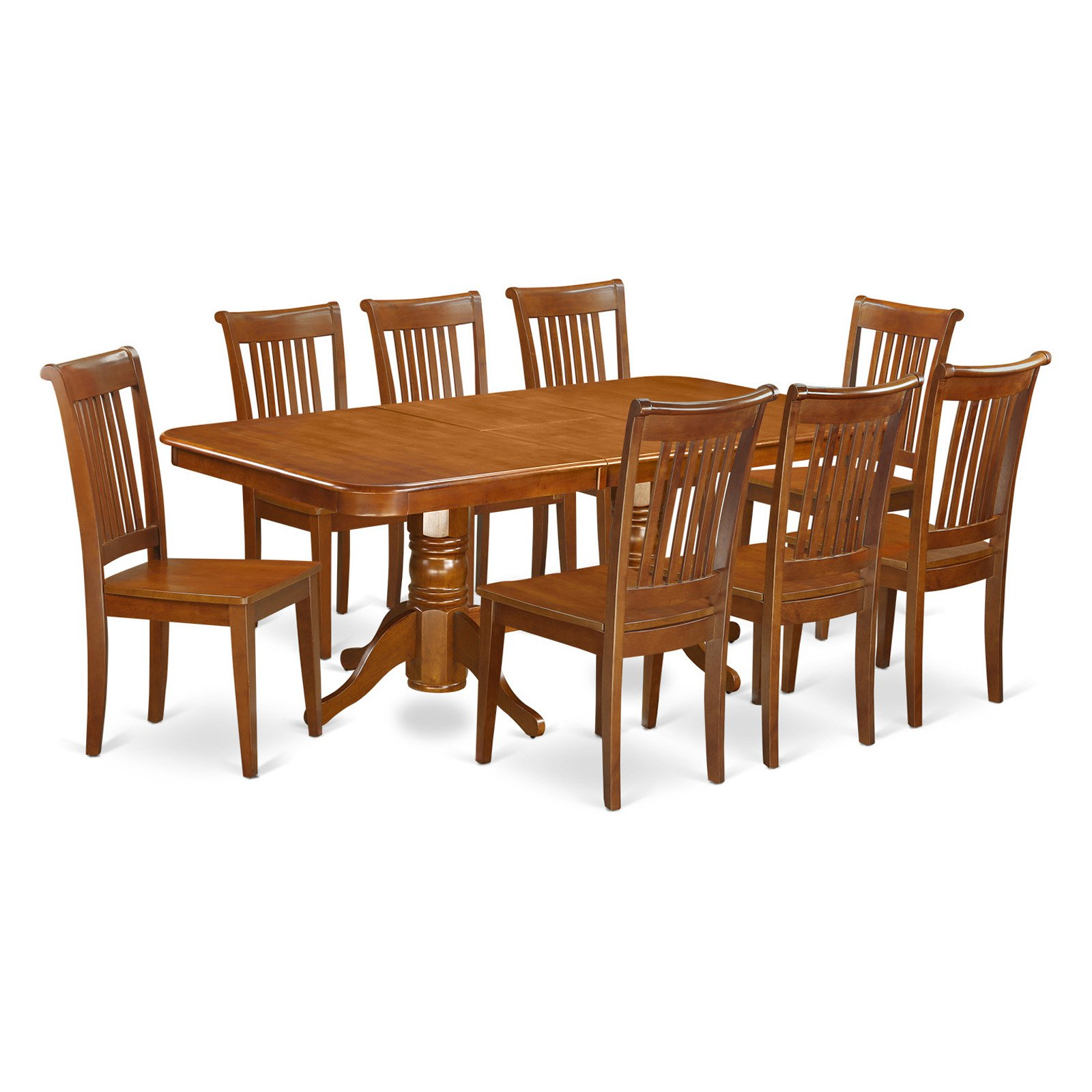East West Furniture Kenley 9 Piece Dining Table Set with Portland Chairs