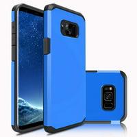 Galaxy S8 Case, Dual Layer Protective Hybrid Armor Defender Case (Blue)