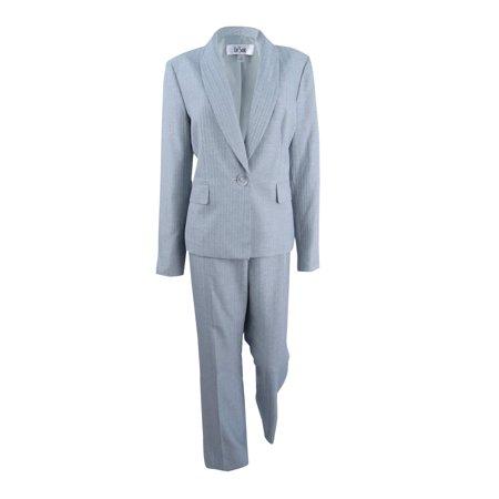 Le Suit Women's Pinstripe Pantsuit (10, (Women's Straight Jacket)