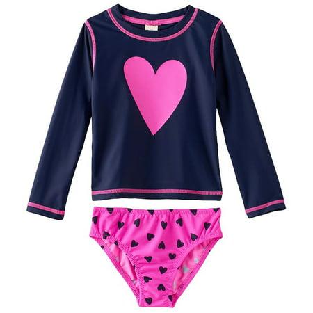 859f728f64 OshKosh - OshKosh Heart Rash Guard Set Navy Girls Swimwear 2T - Walmart.com