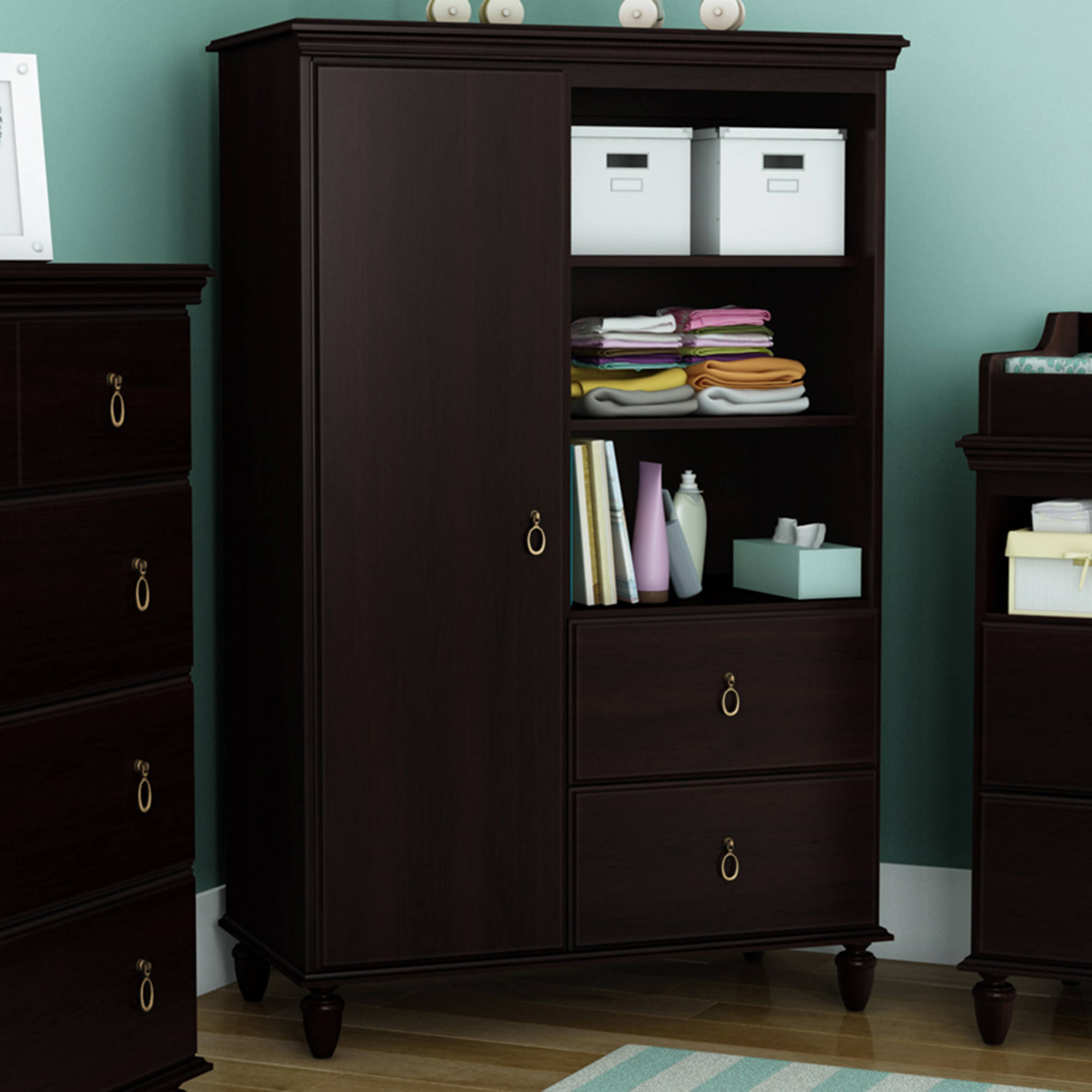 South Shore Moonlight Armoire with Drawers, Multiple Finishes