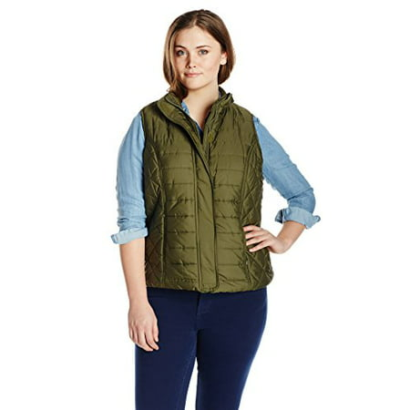 Big Chill Women's Plus-Size Puffer Vest Plus, Loden, 1X