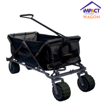 Impact Canopy Folding Utility Wagon, Collapsible, All Terrain Beach Wagon, Black