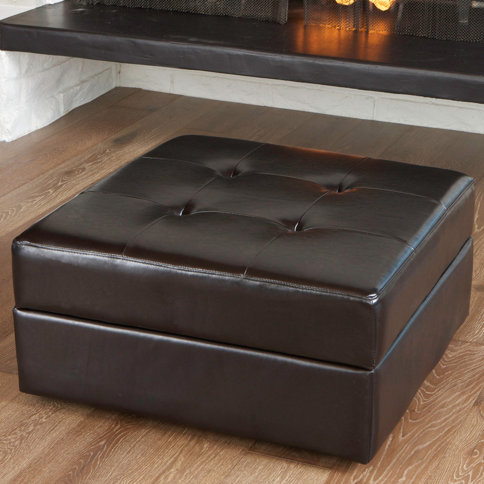 Chatsworth Leather Storage Ottoman - Brown