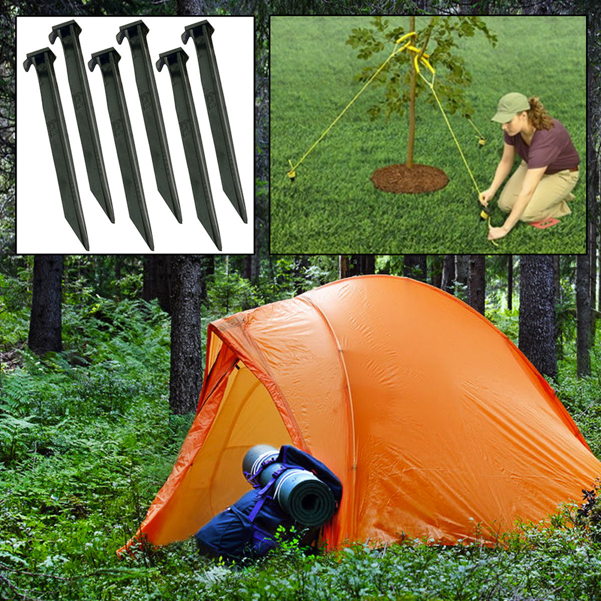 6pk Large Plastic Outdoor Stakes C&ing Secure Support Tents Fences Ropes Signs & 6pk Large Plastic Outdoor Stakes Camping Secure Support Tents ...