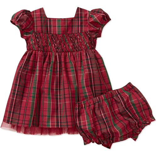 George Newborn Girls' Short Sleeve Plaid Taffeta with Lurex Dress