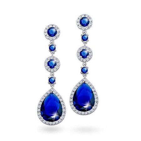 Blue Simulated Sapphire Pear Halo Pave AAA CZ  Statement Teardrop Chandelier Earrings For Women Prom Silver Plated Brass