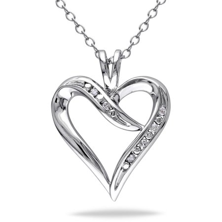 Diamond-Accent Sterling Silver Heart Necklace Necklace Nordstrom Heart Necklace