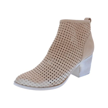 Dolce Vita Womens Kenyon Perforated Stacked Heel Ankle Boots Tan 8 Medium (B,M) (Dolce Vita Boots)