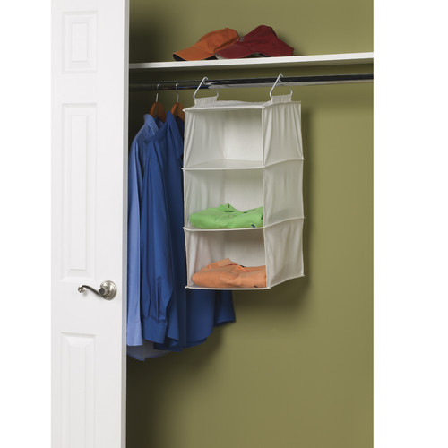 Household Essentials Natural Blended Canvas 3-Shelf Organizer