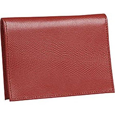 (Budd Leather 552241L-9 Lizard Print Large Leather Passport Case - Red)