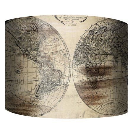 PTM Images World Map II Drum Lamp Shade (World Map Lamp Shade)