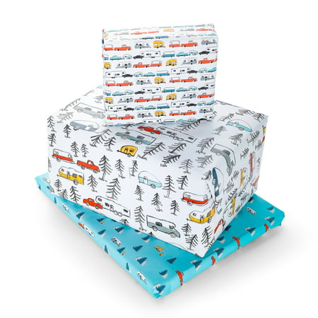 Camco Life Is Better At The Campsite Decorative Gift Wrapping Paper Set with 3 Different Designs - Excellent for The Holidays, Birthdays and Other Special Occasions! (53239)