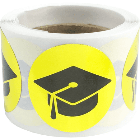 Graduation Cap Stickers Metallic Gold 1 Inch Round Circle Dots 100 Adhesive Labels - Graduation Cap Stickers