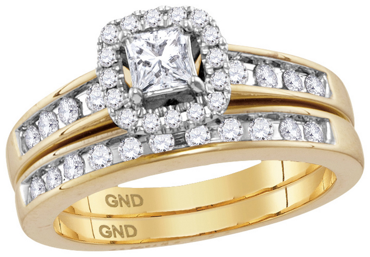 14kt Yellow Gold Womens Natural Diamond Princess EGL Bridal Wedding Engagement Ring Band Set (.75 cttw.) size- 11 by